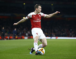 February 21, 2019 - London, Greater London, United Kingdom - Stephan Lichtsteiner of Arsenal..during UEFA Europa League Round of 32 2nd Leg between Arsenal and of Bate Borisov at Emirates stadium , London, England on 20 Feb 2019. ..Credit Action Foto Sport. (Credit Image: © Action Foto Sport/NurPhoto via ZUMA Press)
