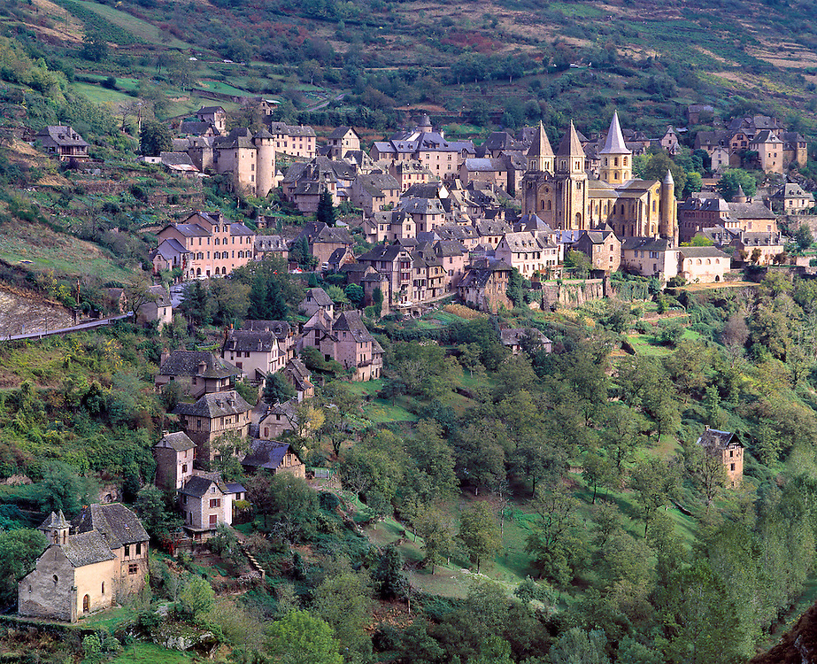 The picturesque hillside village of Conques, in the Lot Valley in France, is a pilgrimage stop enroute to Compostela.