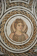 Picture of a Roman mosaics design depicting the Four Seasons, from the ancient Roman city of Thysdrus. 3rd century AD. El Djem Archaeological Museum, El Djem, Tunisia. .<br /> <br /> If you prefer to buy from our ALAMY PHOTO LIBRARY Collection visit : https://www.alamy.com/portfolio/paul-williams-funkystock/roman-mosaic.html . Type - El Djem - into the LOWER SEARCH WITHIN GALLERY box. Refine search by adding background colour, place, museum etc<br /> <br /> Visit our ROMAN MOSAIC PHOTO COLLECTIONS for more photos to download as wall art prints https://funkystock.photoshelter.com/gallery-collection/Roman-Mosaics-Art-Pictures-Images/C0000LcfNel7FpLI