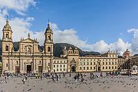 Bogota, Colombia  - February 4, 2017 : Bolivar plaza in La Candelaria area Bogota capital city of Colombia South America