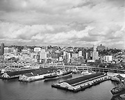 """0103-A032""""Port of Seattle. September 20, 1958"""" Pier 49 & 50. The Polson building is on Columbia street, about in the center of the photo"""
