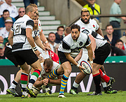 Twickenham, Surrey, United Kingdom.  Horacio AGULLA, passes the ball, during the, Old Mutual Wealth Cup, England vs Barbarian's match, played at the  RFU. Twickenham Stadium, on Sunday   28/05/2017England    <br /> <br /> [Mandatory Credit Peter SPURRIER/Intersport Images]
