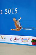 Mamun Margarita during qualifying at hoop in Pesaro World Cup at Adriatic Arena on 10 April 2015. Margarita was born November 1,1995 in Moscow.