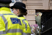British police officers guard the embassy of Myanmar in London, after its ambassador to London, Kyaw Zwar Minn, spent the night in his car after his country's military attaché denied him entry into the premises, on 8th April 2021, in London, England. The democratically-elected government in Myanmar was overthrown by a military-led coup in February.
