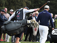 Golf - 2018 Sky Sports British Masters - Thursday, First Round<br /> <br /> Martin Kymer of Germany with his caddie and 'animal club covers', at Walton Heath Golf Club.<br /> <br /> COLORSPORT/ANDREW COWIE