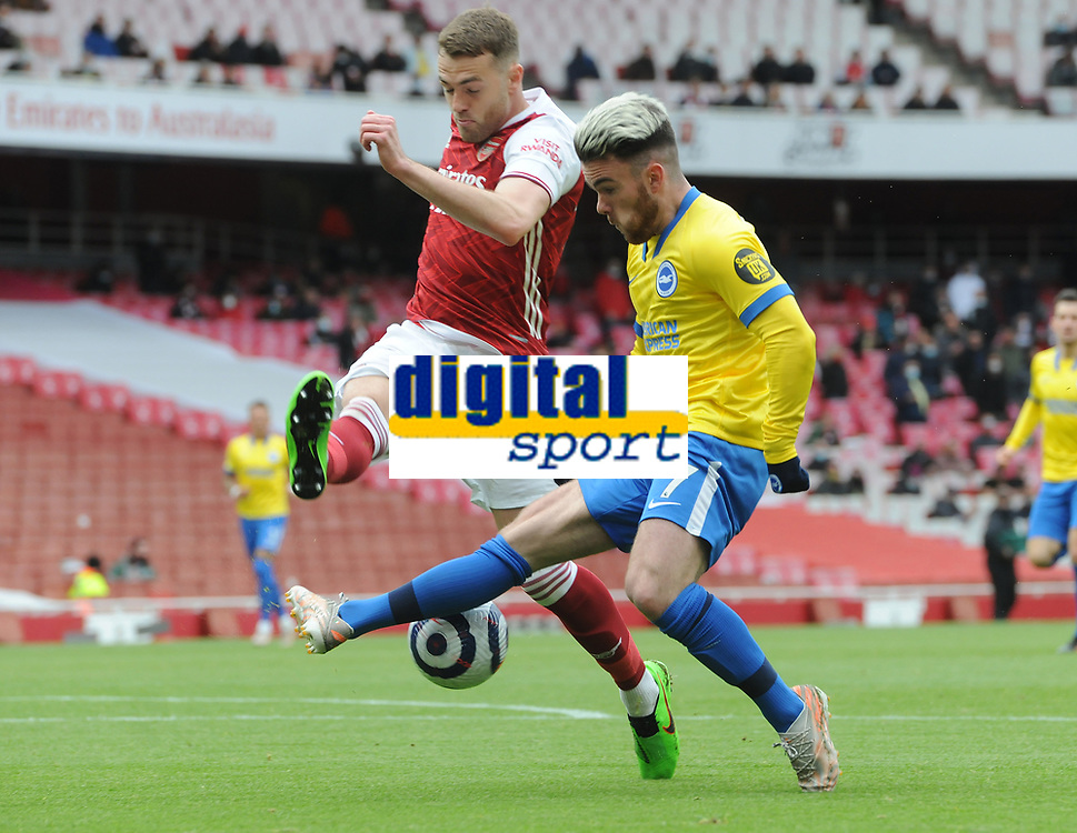Football - 2020 / 2021 Premier League - Arsenal vs Brighton & Hove Albion - Emirates Stadium<br /> <br /> Aaron Connolly of Brighton and Calum Chambers of Arsenal<br /> <br /> Credit : COLORTSPORT/ANDREW COWIE