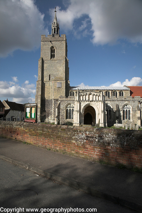 Saint Mary's church, Boxford, Suffolk, England. This fine looking perpendicular church sits right in the middle of the village with many old houses around it. The 14th century tower has an interesting 19th century lead spirelet on top.