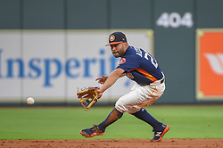 March 26, 2018 - Houston, TX, U.S. - HOUSTON, TX - MARCH 26: Houston Astros infielder Jose Altuve (27) makes a stop at second during the game between the Milwaukee Brewers and Houston Astros at Minute Maid Park on March 26, 2018 in Houston, Texas. (Photo by Ken Murray/Icon Sportswire) (Credit Image: © Ken Murray/Icon SMI via ZUMA Press)