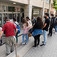Crowd of people queue outside a vaccination point to get one of the rare vaccines offered by the government as a rare occasion in Budapest, Hungary on April 30, 2021. ATTILA VOLGYI