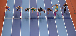 A general view of the action from the Men's 60m hurdle semi-finals during day four of the 2018 IAAF Indoor World Championships at The Arena Birmingham. PRESS ASSOCIATION Photo. Picture date: Sunday March 4, 2018. Photo credit should read Simon Cooper/PA Wire.