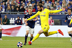 May 15, 2019 - Foxborough, MA, U.S. - FOXBOROUGH, MA - MAY 15: Chelsea FC forward Gonzalo Higua'n (9) sets up a shot during the Final Whistle on Hate match between the New England Revolution and Chelsea Football Club on May 15, 2019, at Gillette Stadium in Foxborough, Massachusetts. (Photo by Fred Kfoury III/Icon Sportswire) (Credit Image: © Fred Kfoury Iii/Icon SMI via ZUMA Press)