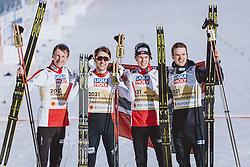 28.02.2021, Oberstdorf, GER, FIS Weltmeisterschaften Ski Nordisch, Oberstdorf 2021, Herren, Nordische Kombination, Teambewerb, Langlauf, im Bild v.l.: Jens Luraas Oftebro (NOR), Jarl Magnus Riiber (NOR), Joergen Graabak (NOR), Espen Bjoernstad (NOR) // f.l.: Jens Luraas  Oftebro of Norway JJarl Magnus  Riiber of Norway Joergen  Graabak of Norway Espen  Bjoernstad of Norway during Cross Country Competition of men Nordic combined Teamevent of FIS Nordic Ski World Championships 2021  in Oberstdorf, Germany on 2021/02/28. EXPA Pictures © 2021, PhotoCredit: EXPA/ Dominik Angerer