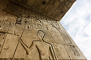 Hieroglyphs on the first pylon at the ancient Egyptian site of Medinet Habu (1194-1163BC), the Mortuary Temple of Ramesses III in Luxor, Nile Valley, Egypt. Medinet Habu is an important New Kingdom period structure in the West Bank of Luxor in Egypt. Aside from its size and architectural and artistic importance, the temple is probably best known as the source of inscribed reliefs depicting the advent and defeat of the Sea Peoples during the reign of Ramesses III.