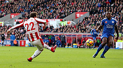 Stoke City's Xherdan Shaqiri scores his side's first goal of the game