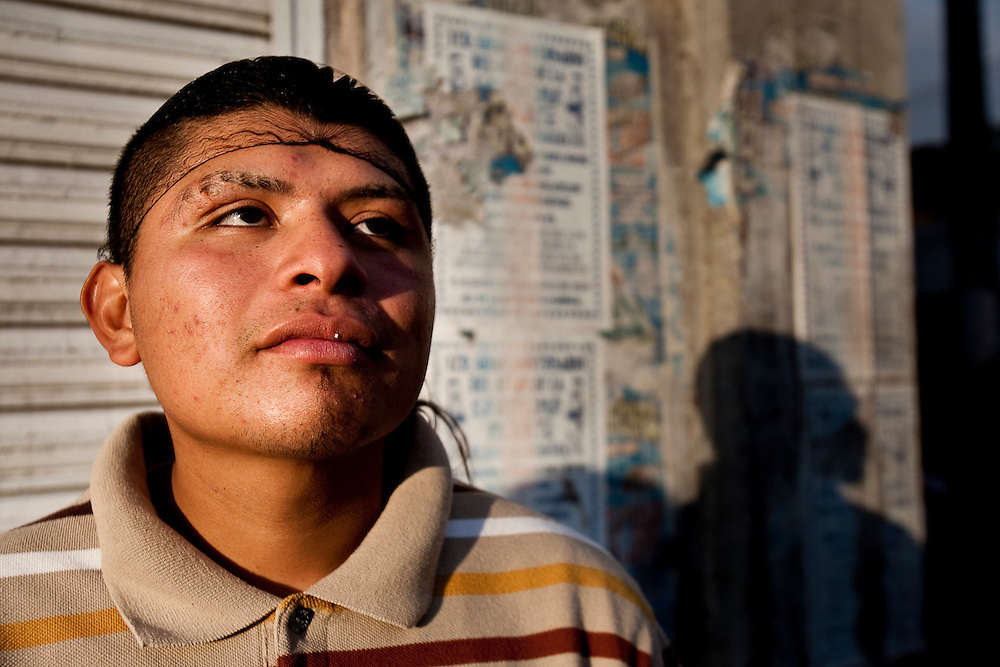 A teenager from Tipito outside the Tipito Sante Muerte Shrine.