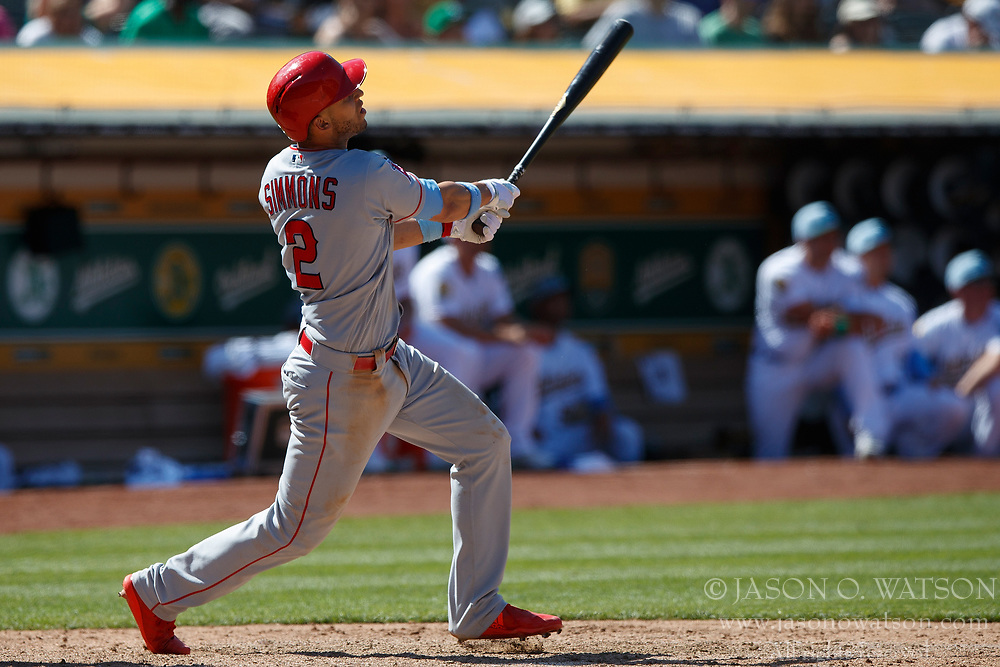 OAKLAND, CA - JUNE 17: Andrelton Simmons #2 of the Los Angeles Angels of Anaheim at bat against the Oakland Athletics during the tenth inning at the Oakland Coliseum on June 17, 2018 in Oakland, California. The Oakland Athletics defeated the Los Angeles Angels of Anaheim 6-5 in 11 innings. (Photo by Jason O. Watson/Getty Images) *** Local Caption *** Andrelton Simmons