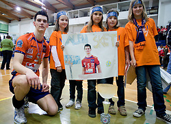 Alen Sket with young fans at last final volleyball match of 1.DOL Radenska Classic between OK ACH Volley and Salonit Anhovo, on April 21, 2009, in Arena SGS Radovljica, Slovenia. ACH Volley won the match 3:0 and became Slovenian Champion. (Photo by Vid Ponikvar / Sportida)