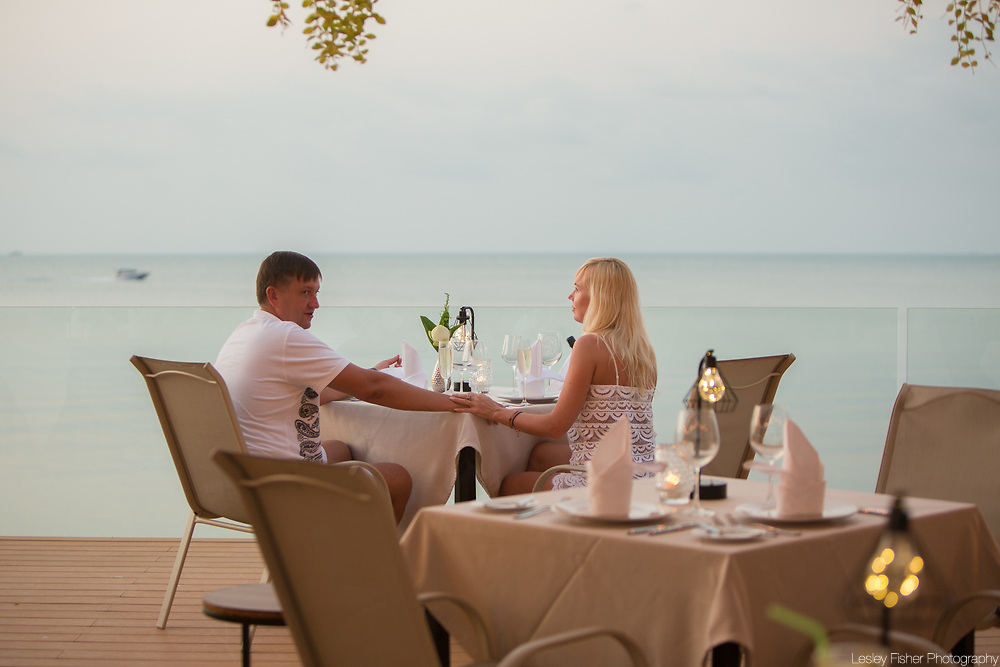 Upper dining terrace at Sea and Sky beach front restaurant located on Ban Tai beach, Koh Samui, Thailand