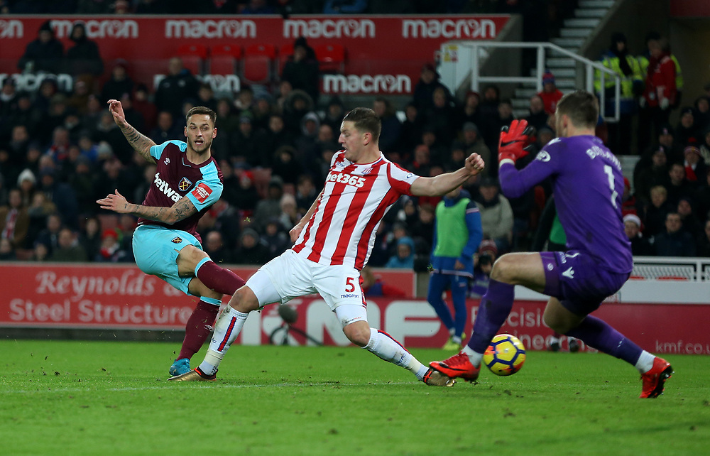 West Ham United's Marko Arnautovic goes close in the second half<br /> <br /> Photographer Rob Newell/CameraSport<br /> <br /> The Premier League - Stoke City v West Ham United - Saturday 16th December 2017 - Britannia Stadium - Stoke-on-Trent <br /> <br /> World Copyright © 2017 CameraSport. All rights reserved. 43 Linden Ave. Countesthorpe. Leicester. England. LE8 5PG - Tel: +44 (0) 116 277 4147 - admin@camerasport.com - www.camerasport.com