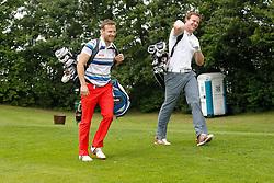 25.06.2014, Golf Club Gut Laerchenhof, Pulheim, GER, BNW International Golf Open, im Bild Olympiasieger Tobias Arlt (Rodel Doppelsitzer) und Olympiasieger Felix Loch (Rodel Einzel - rechts) gut gelaunt auf der Runde // during the International BMW Golf Open at the Golf Club Gut Laerchenhof in Pulheim, Germany on 2014/06/25. EXPA Pictures © 2014, PhotoCredit: EXPA/ Eibner-Pressefoto/ Schueler<br /> <br /> *****ATTENTION - OUT of GER*****