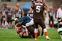 KELOWNA, BC - SEPTEMBER 8: Alex Douglas #1 of Okanagan Sun is tackled by the Langley Rams at the Apple Bowl on September 8, 2019 in Kelowna, Canada. (Photo by Marissa Baecker/Shoot the Breeze)