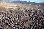 Residential areas in Las Vegas grow further into the desert as the city needs development and investments in order to continue being an economic success, and avoid becoming another 'victim' of the recent economic crisis, Nevada, USA.
