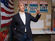 19 DECEMBER 2019 - URBANDALE, IOWA: US Senator CORY BOOKER (D-NJ) talks to volunteers at his presidential campaign headquarters in Urbandale, a suburb of Des Moines. Sen. Booker, who did not qualify for the December 19 debate in Los Angeles, campaigned in the Des Moines area Thursday and visited the phone bank at his Iowa campaign headquarters. Iowa traditionally holds the first event of the presidential election cycle. The Iowa caucuses at Feb. 3, 2020.               PHOTO BY JACK KURTZ