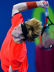 Andrey Rublev of Russia serves to Andreas Seppi of Italy during their first round of ATP Qatar Open Tennis match at the Khalifa International Te?nnis Complex in Doha, capital of Qatar, on December 31, 2018. Andrey Rublev won 2-0  (Credit Image: © (XinhuaNikkuXinhua via ZUMA Wire)