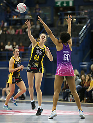 Wasps Netball's Katie Harris (left) and Loughborough Lightning's Vicki Oyesola battle for the ball during the Vitality Netball Superleague Super Ten match held at Arena Birmingham.
