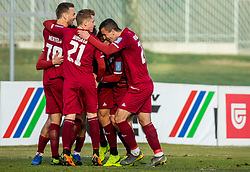 Players of Triglav celebrate after scoring first goal during Football match between NK Triglav and NK Olimpija Ljubljana in 22nd Round of Prva liga Telekom Slovenije 2018/19, on March 9, 2019, in Sports centre Kranj, Slovenia. Photo by Vid Ponikvar / Sportida