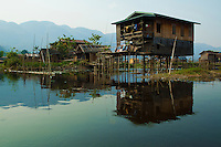 """The so-called """"floating village"""" on Inle Lake is really called Ywama, a kind of rural Burmese Venice that becomes the scene of a weekly market that used to be primarily a floating market."""