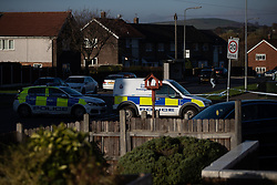 November 18, 2018 - Hyde, Greater Manchester, UK - Manchester , UK . Police and forensic scenes of crime investigators work behind a sealed off cordon outside the Harehill Tavern in a residential area on Hattersley Road West in Hyde after a man was shot the stomach last night (17th November 2018) (Credit Image: © Joel Goodman/London News Pictures via ZUMA Wire)