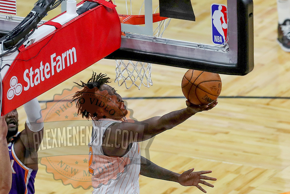 ORLANDO, FL - MARCH 24: Al-Farouq Aminu #2 of the Orlando Magic attempts a shot against the Phoenix Suns during the second half at Amway Center on March 24, 2021 in Orlando, Florida. NOTE TO USER: User expressly acknowledges and agrees that, by downloading and or using this photograph, User is consenting to the terms and conditions of the Getty Images License Agreement. (Photo by Alex Menendez/Getty Images)*** Local Caption *** Al-Farouq Aminu