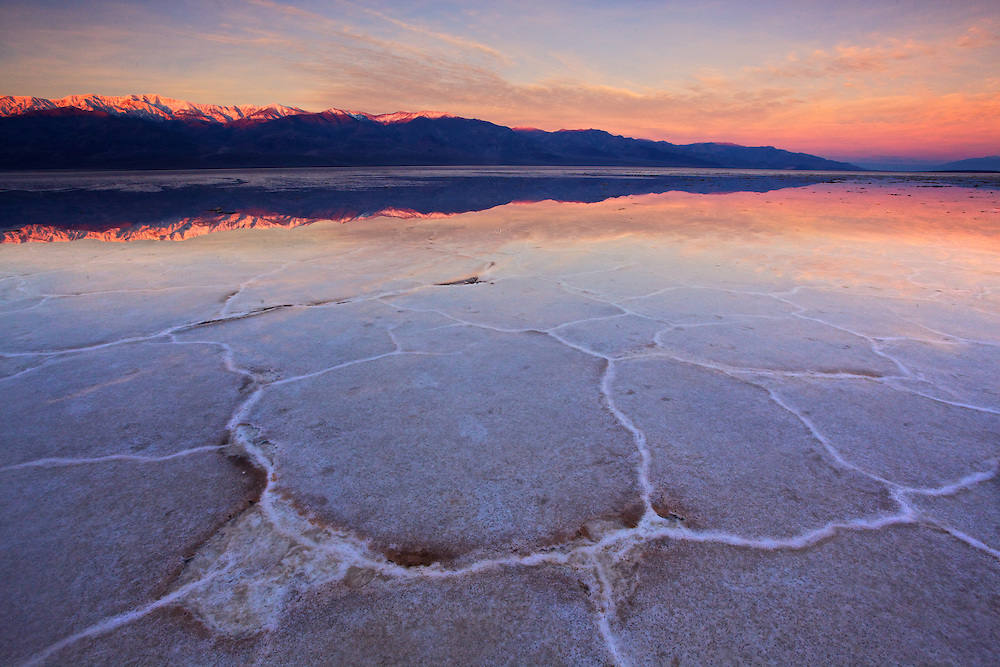 the flooded badwater basin after heavy rains in december in death valley national park