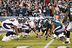 Denver Broncos Offensive line and the Philadelphia Eagles defensive line on the line of scrimage during the NFL game between the Denver Broncos and the Philadelphia Eagles on December 27th 2009. The Eagles won 30-27 at Lincoln Financial Field in Philadelphia, Pennsylvania. (Photo By Brian Garfinkel)