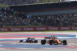 October 21, 2018 - Austin, TX, U.S. - AUSTIN, TX - OCTOBER 21: McLaren driver Stoffel Vandoorne (2) of Belgium leads Toro Rosso driver Daniil Kvyat (26) of Russia through turns during the F1 United States Grand Prix on October 21, 2018, at Circuit of the Americas in Austin, TX. (Photo by John Crouch/Icon Sportswire) (Credit Image: © John Crouch/Icon SMI via ZUMA Press)