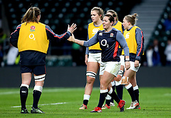 Marlie Packer of England high fives a teammate - Mandatory by-line: Robbie Stephenson/JMP - 04/02/2017 - RUGBY - Twickenham - London, England - England v France - Women's Six Nations