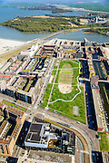 Nederland, Noord-Holland, Amsterdam, 20-04-2015; Theo van Goghpark en Pampuslaan. Het PEN-eiland (Diemer Vijfhoek) met centrale van Nuon in de achtergrond.<br /> IJburg, the new urban development district of Amsterdam, with its main park.<br /> luchtfoto (toeslag op standard tarieven);<br /> aerial photo (additional fee required);<br /> copyright foto/photo Siebe Swart