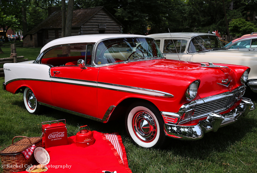 """""""Chevy Bel Air in Red""""<br /> <br /> Beautiful classic styling and color in this wonderful piece of automotive history. The 1956 Chevrolet Bel Air!!<br /> <br /> Cars and their Details by Rachel Cohen"""