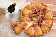 Pear tart tatin pictured at P&O Cruises Development Kitchen for the Macmillan Cancer Support cookery book.<br /> Picture date: Friday April 29, 2016.<br /> Photograph by Christopher Ison ©<br /> 07544044177<br /> chris@christopherison.com<br /> www.christopherison.com
