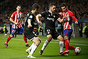Atletico Madrid's French defender Lucas Hernandez vies for the ball during the Spanish Cup, Copa del Rey quarter final, 1st leg football match between Atletico Madrid and Sevilla FC on January 17, 2018 at Wanda Metropolitano stadium in Madrid, Spain - Photo Benjamin Cremel / ProSportsImages / DPPI