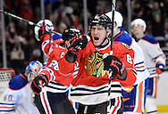 Chicago Blackhawks right wing Marian Hossa celebrates his goal during the second period against the Edmonton Oilers at the United Center in Chicago on March 10, 2013.  (UPI)