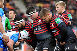 The Saracens front row pack down for a scrum - Photo mandatory by-line: Patrick Khachfe/JMP - Tel: Mobile: 07966 386802 18/01/2014 - SPORT - RUGBY UNION - Allianz Park, London - Saracens v Connacht Rugby - Heineken Cup.