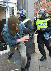 "© under license to London News Pictures. 25/03/2011: Anticuts protesters on Shaftsbury Avenue confront police and paint grafitti on and attack police vans during protests in London.. Credit should read ""Joel Goodman/London News Pictures""."