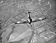 Battle of Britain 10 July-31 October 1940: Hawker Hurricane of Fighter Command, as first line of defence, on its way to engage German bombers as they crossed the south coast of England. First major battle fought and won in the air.  World War II.