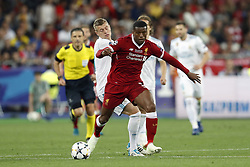 (L-R) Toni Kroos of Real Madrid, Georginio Wijnaldum of Liverpool FC during the UEFA Champions League final between Real Madrid and Liverpool on May 26, 2018 at NSC Olimpiyskiy Stadium in Kyiv, Ukraine