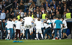 May 1, 2018 - Madrid, Spain - Players of Real Madrid celebrate victory after the UEFA Champions League Semi Final Second Leg match between Real Madrid and Bayern Muenchen at the Bernabeu on May 1, 2018 in Madrid, Spain. (Credit Image: © Raddad Jebarah/NurPhoto via ZUMA Press)