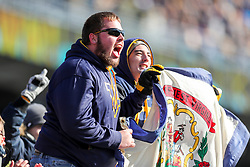 Nov 10, 2018; Morgantown, WV, USA; West Virginia Mountaineers fans celebrate after a touchdown during the second quarter against the TCU Horned Frogs at Mountaineer Field at Milan Puskar Stadium. Mandatory Credit: Ben Queen-USA TODAY Sports