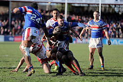 Wakefield Trinity's Danny Brough is held up just short of the try line during the Betfred Super League match at Belle Vue, Wakefield.