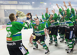 Ales Music of Olimpija, Miha Logar of Olimpija, Bostjan Groznik of Olimpija and other players of Olimpija celebrate after they became Slovenian National Champion 2016 after winning during ice hockey match between HDD Telemach Olimpija and HDD SIJ Acroni Jesenice in Final of Slovenian League 2015/16, on April 11, 2016 in Hala Tivoli, Ljubljana, Slovenia. Photo by Vid Ponikvar / Sportida